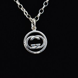 """GUCCI: Sterling Silver, """"GG"""" Logo Necklace (nz)"""